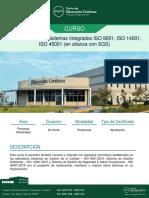 Auditor Interno en Sistemas Integrados ISO 9001, IsO 14001, IsO 45001 (en Alianza Con SGS)