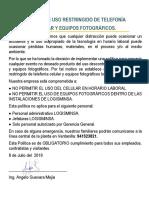 Política de Uso Restringido de Telefonía Celular y Equipos Fotográficos