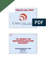 EL MODELO DE DESCENTRALIZACIÓN PERUANO