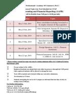 Final CFAP Topic Wise Schedule Summer 2019