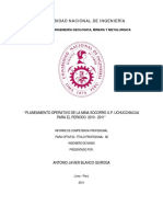 Planeamiento Operativo de La Mina Socorro U.P. Uchucchacua Para El Periodo 2010 - 2011