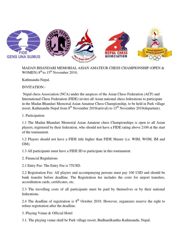 Asian Amateur asian amateur chess championship 2019 regulations | chess