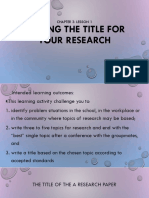 1 Writing the Title for Your Research Paper