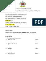 SEB 1245 Civil Engineering Mathematics