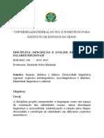 Plano de Ensino, Preservação de Línguas, UNIFESSPA