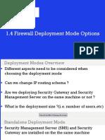 1.4 Firewall Deployment Mode Options