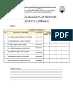 Control de Asistencia Del Personal Docente Nombrados y Contratados