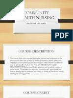 Community Health Nursing Orientation