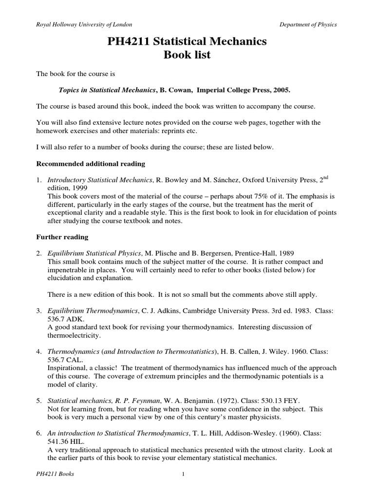 4211 Books Statistical Mechanics Thermodynamic Equilibrium
