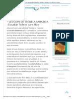 ▷ LECCION DE ESCUELA SABATICA _ Estudiar Folleto para Hoy _ Recursos Bíblicos