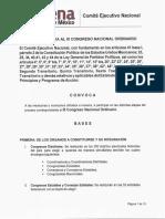 MORENA Convocatoria al III Congreso Nacional Ordinario
