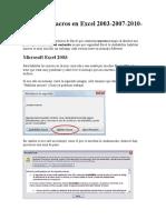 Habilitar macros en Excel 20032003-2007-2010-2013