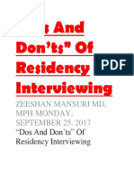 """Dos and Don'Ts"" of Residency Interviewing (1)"