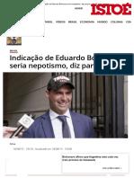 Indicação de Eduardo Bolsonaro Seria Nepotismo, Diz Parecer - IsTOÉ Independente