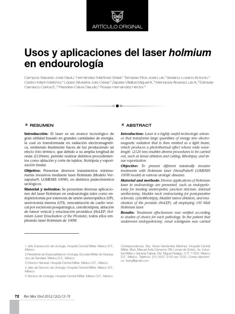 láser de holmio para gráfico de volumen de próstatas