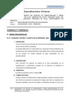 Especificaciones Técnicas - Veredas (Veracruz)