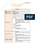 Tabla de Especificaciones Examen EDU207