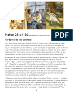 Parábola de Los Talentos Mateo 25