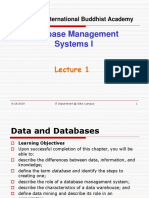 Database Management Systems I - Lecture 1