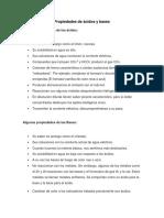 propiedades y características de ácidos y gases