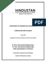 B.tech Aeronautical R2018 Curriculum & Syllabus