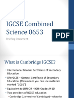 IGCSE Combined Science Briefing Document