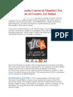 Top Multimedia Courses in Mumbai | Zee Institute Of Creative Art Malad