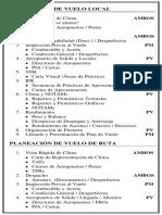 Lista de Planeación y Preparación de Vuelo