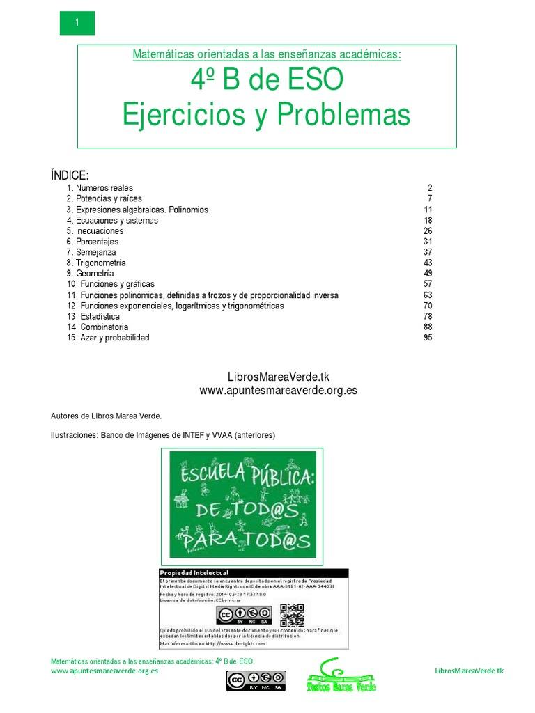 Marea Verde Ejercicios Y Problemas 4b 2015 Número Real Intervalo Matemáticas