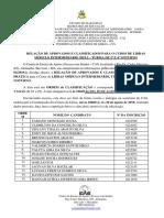 Relação de Aprovados e Classificados - Módulo Intermediário 2019.2 – Turma de 2ª e 4ª Noturno