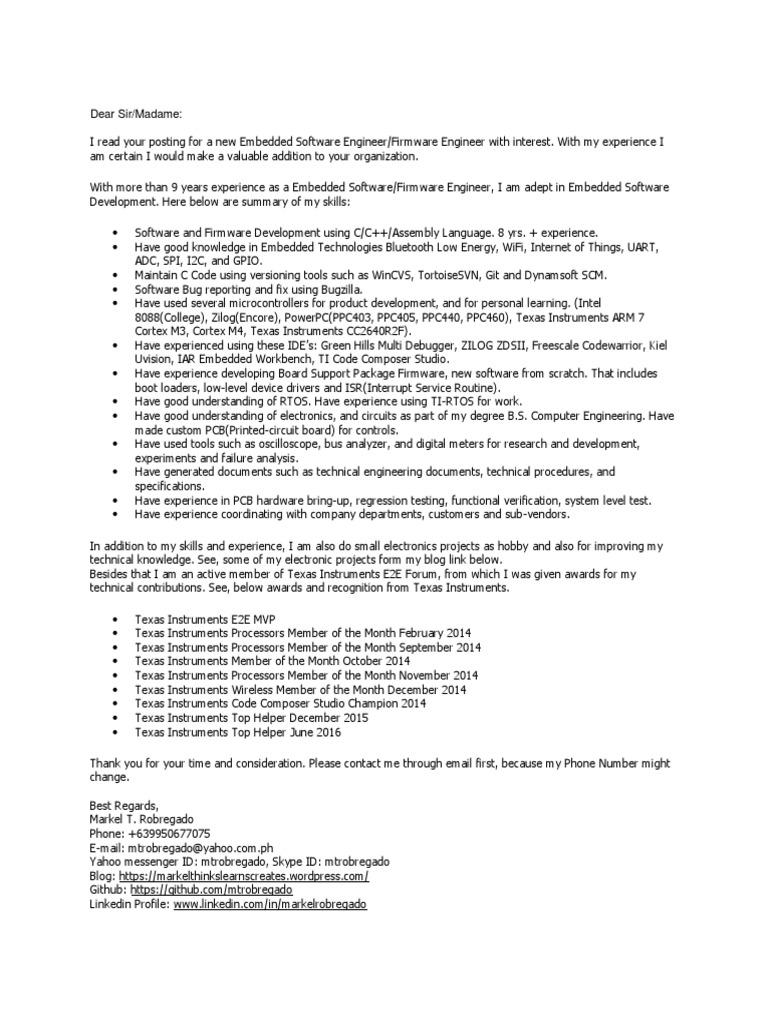 Markel Robregado Cover Letter Firmware Engineer ...