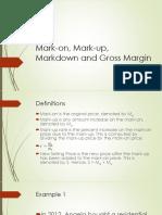 Mark-On Mark-up Markdown and Gross Margin