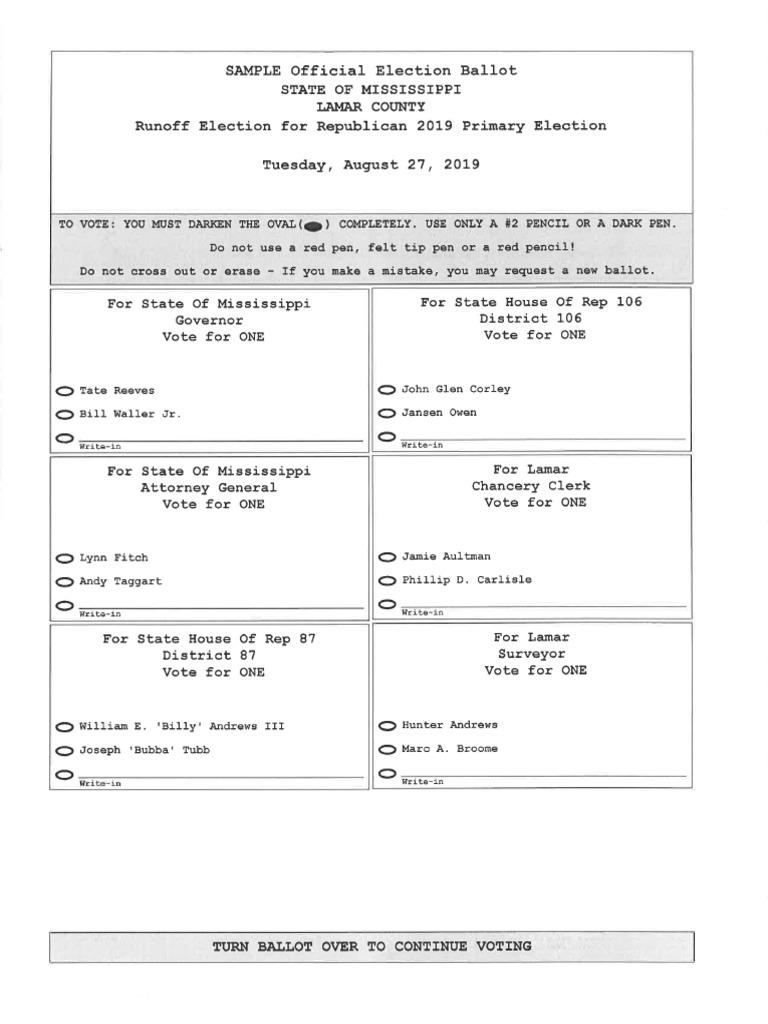 Lamar County 2019 Primary Runoff Election Sample Ballot