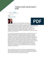 La Acción de Amparo Contra Vías de Hecho - Dr. Carlos Brender