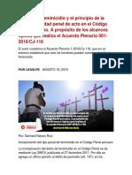 El delito de feminicidio y el principio de la responsabilidad penal de acto en el Código Penal peruano. A propósito de los alcances típicos que realiza el Acuerdo Plenario 001-2016/CJ-116