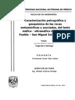 caracterizacion petrografica en rocas metamorficas de Oaxaca