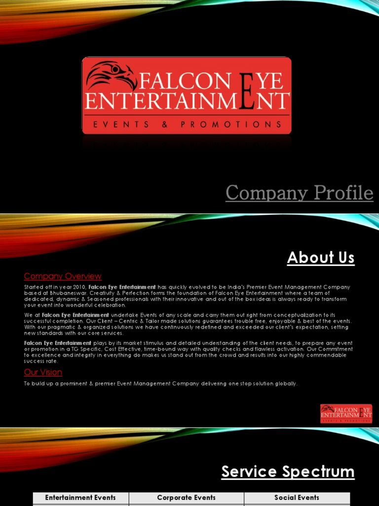 Falcon Eye Entertainment Brochure | Entertainment | Sports