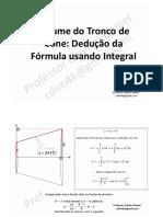 Volume Do Tronco de Cone - Dedução Da Fórmula Usando Integral