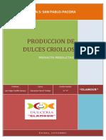 PRODUCCION DE DULCES CRIOLLOS REPOSTERIA