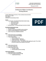 Bi-Weekly Joint Utilities Coordination (02!21!19)