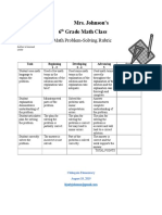 math problem solving rubric