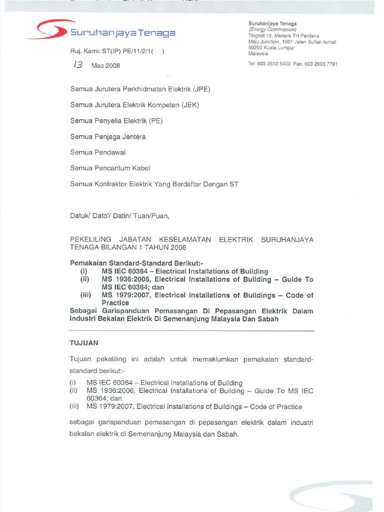 St Letter Of Enforced Acts Regulations And Standards For Electrical Installation In Malaysia