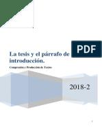 Laboratorio 09 La Tesis y El Párrafo de Introducción-1