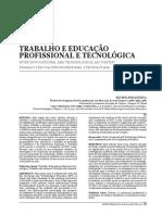 Trabalho e educação Profissional e Tecnológica