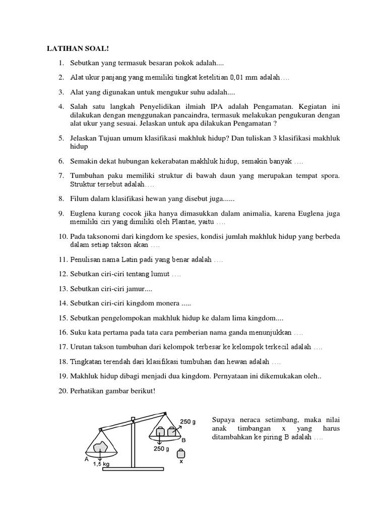 Latihan Soal Ipa 1