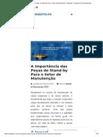 A Importância Das Peças de Stand-By Para o Setor de Manutenção - Engeteles - Engenharia de Manutenção