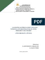LAS POLÍTICAS PÚBLICAS EDUCATIVAS EN VENEZUELA ESTABLECIDAS PARA EL NIVEL PRIMARIO Y SECUNDARIO