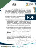 INFORMACIÓN Correspondiente a Las MODALIDADES de Nuestros Cursos en Lengua de Señas.