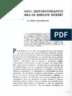 El método historiográfico en la obra de Enrique Rickert