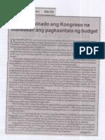 Balita, Aug. 20, 2019, Determinado ang Kongreso na maiwasan ang pagkaantala ng budget.pdf
